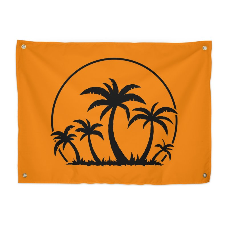 Palm Trees And Sunset in Black Home Tapestry by Fizzgig's Artist Shop