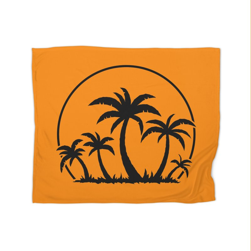 Palm Trees And Sunset in Black Home Blanket by Fizzgig's Artist Shop
