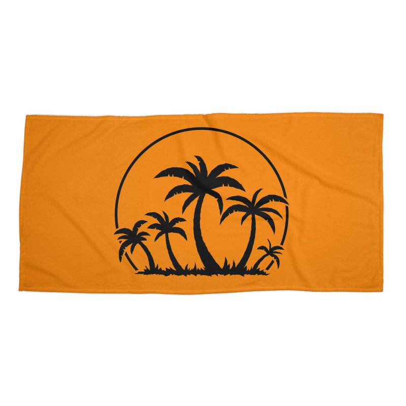 Palm Trees And Sunset in Black Accessories Beach Towel by Fizzgig's Artist Shop