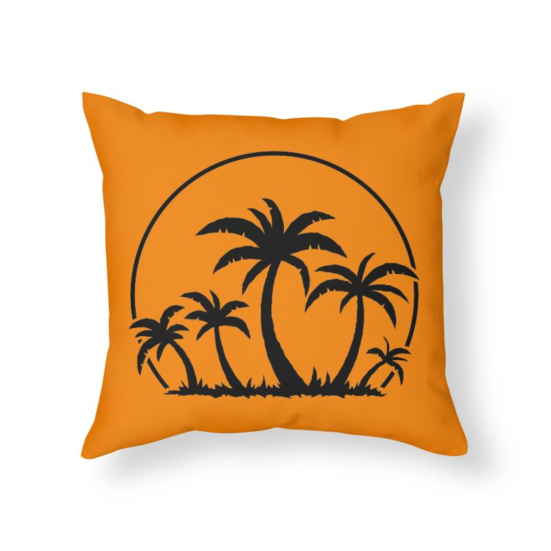 Palm Trees And Sunset in Black Home Throw Pillow by Fizzgig's Artist Shop