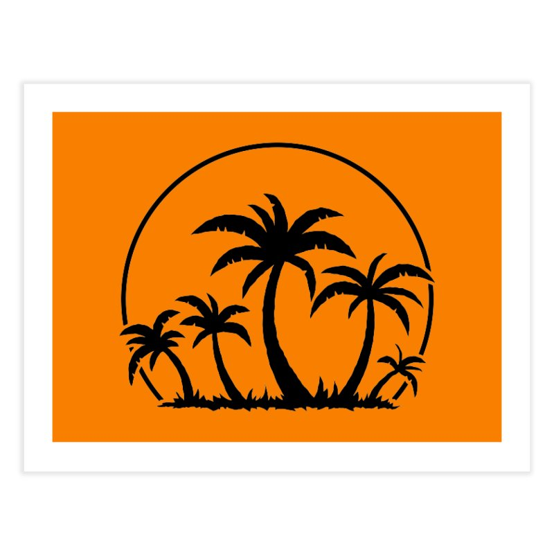 Palm Trees And Sunset in Black Home Fine Art Print by Fizzgig's Artist Shop