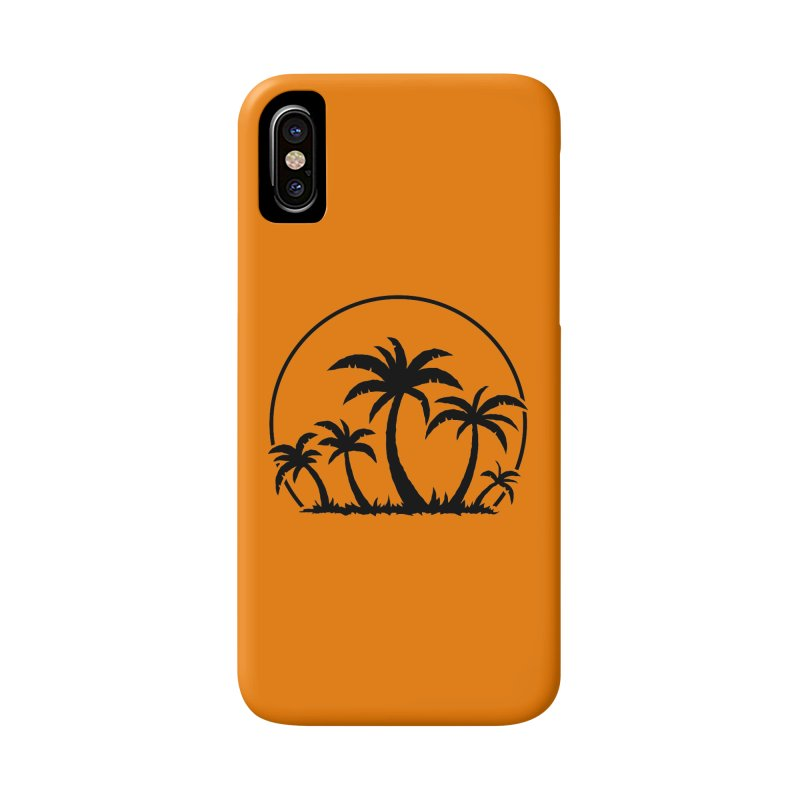 Palm Trees And Sunset in Black Accessories Phone Case by Fizzgig's Artist Shop