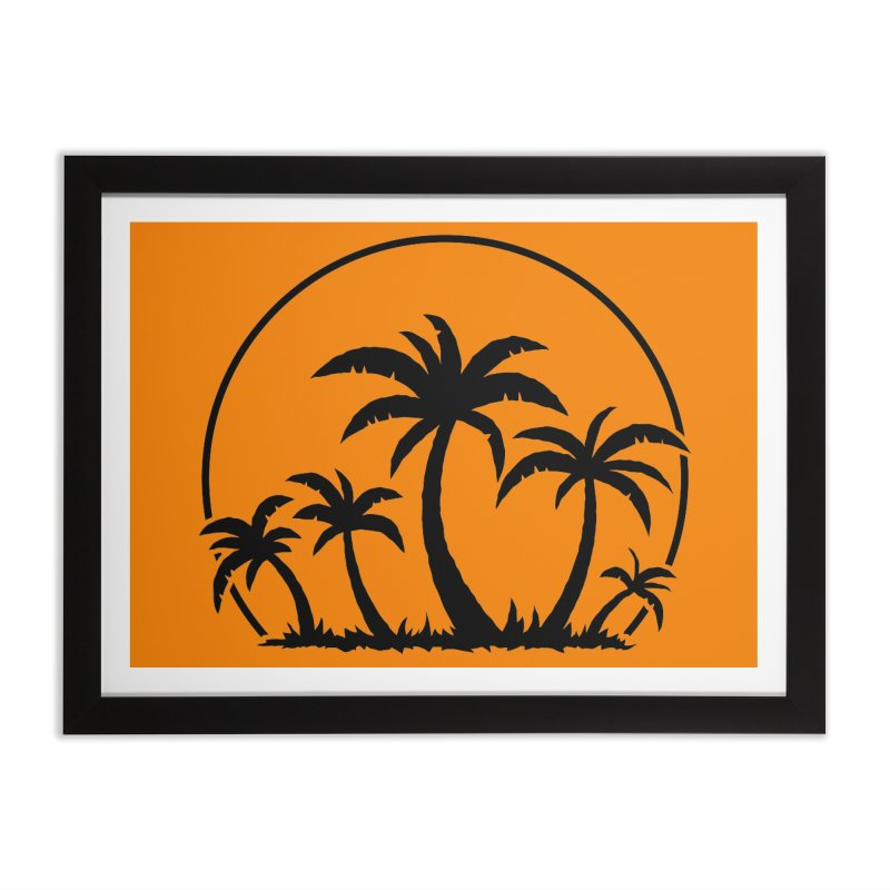 Palm Trees And Sunset in Black Home Framed Fine Art Print by Fizzgig's Artist Shop