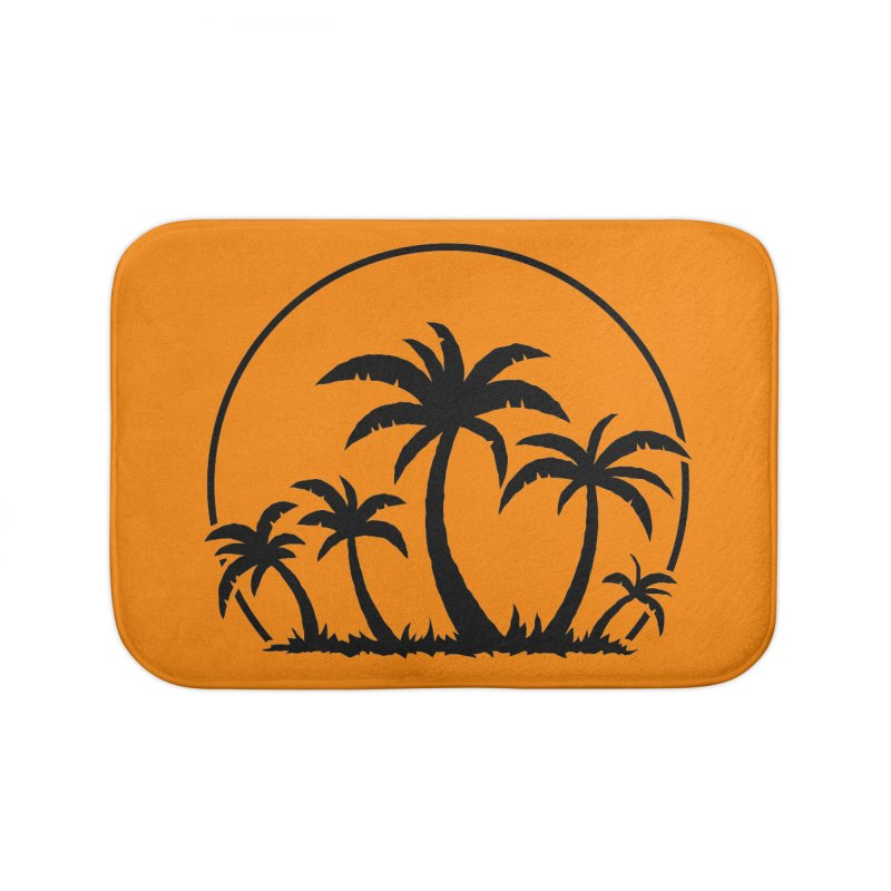 Palm Trees And Sunset in Black Home Bath Mat by Fizzgig's Artist Shop
