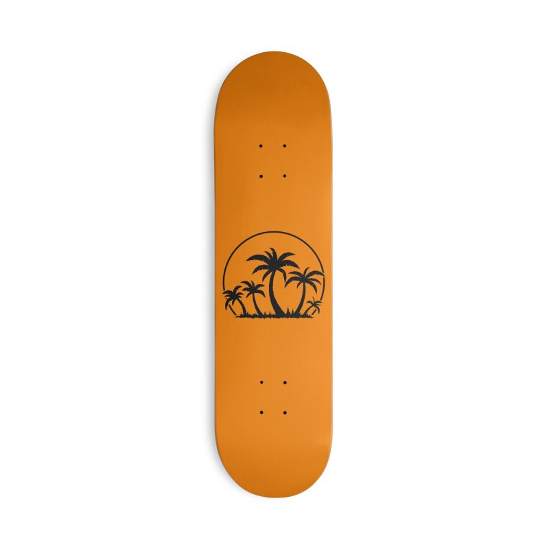 Palm Trees And Sunset in Black Accessories Deck Only Skateboard by Fizzgig's Artist Shop