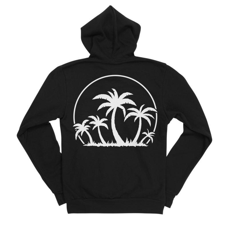 Palm Trees And Sunset in White Men's Sponge Fleece Zip-Up Hoody by Fizzgig's Artist Shop