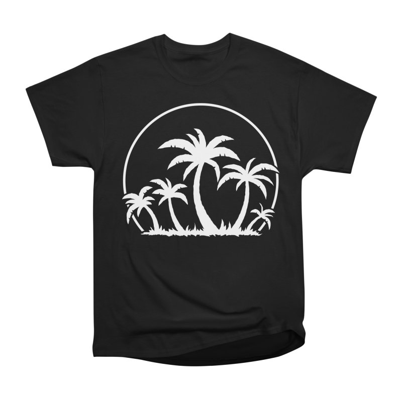 Palm Trees And Sunset in White Men's Heavyweight T-Shirt by Fizzgig's Artist Shop
