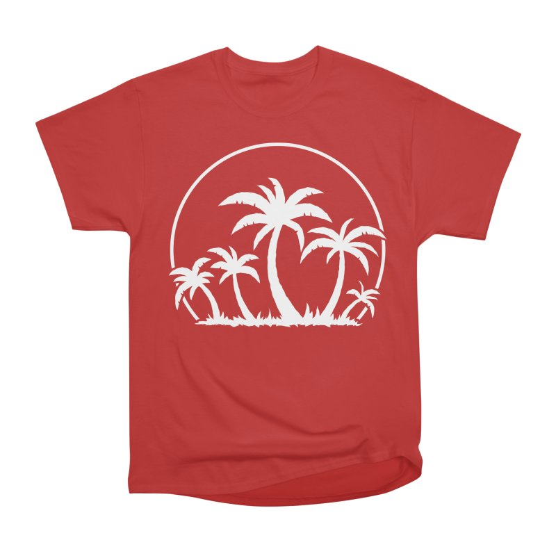 Palm Trees And Sunset in White Women's Heavyweight Unisex T-Shirt by Fizzgig's Artist Shop