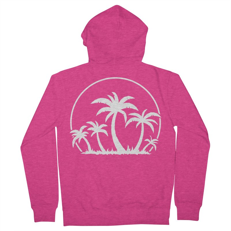 Palm Trees And Sunset in White Women's French Terry Zip-Up Hoody by Fizzgig's Artist Shop