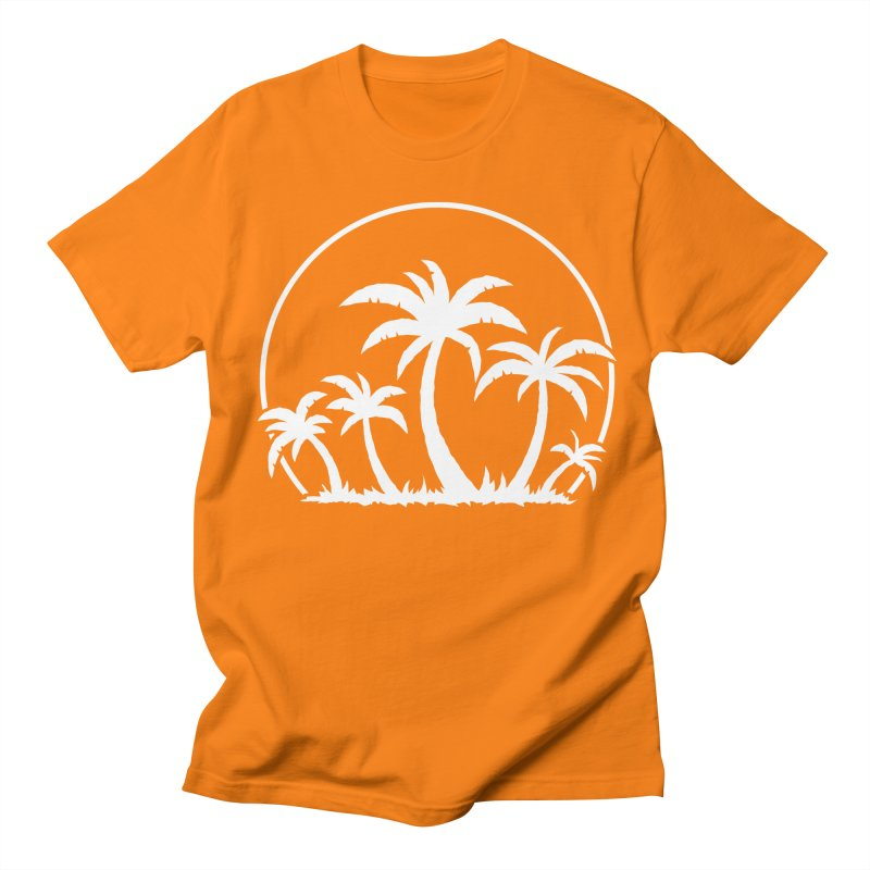 Palm Trees And Sunset in White Women's Regular Unisex T-Shirt by Fizzgig's Artist Shop