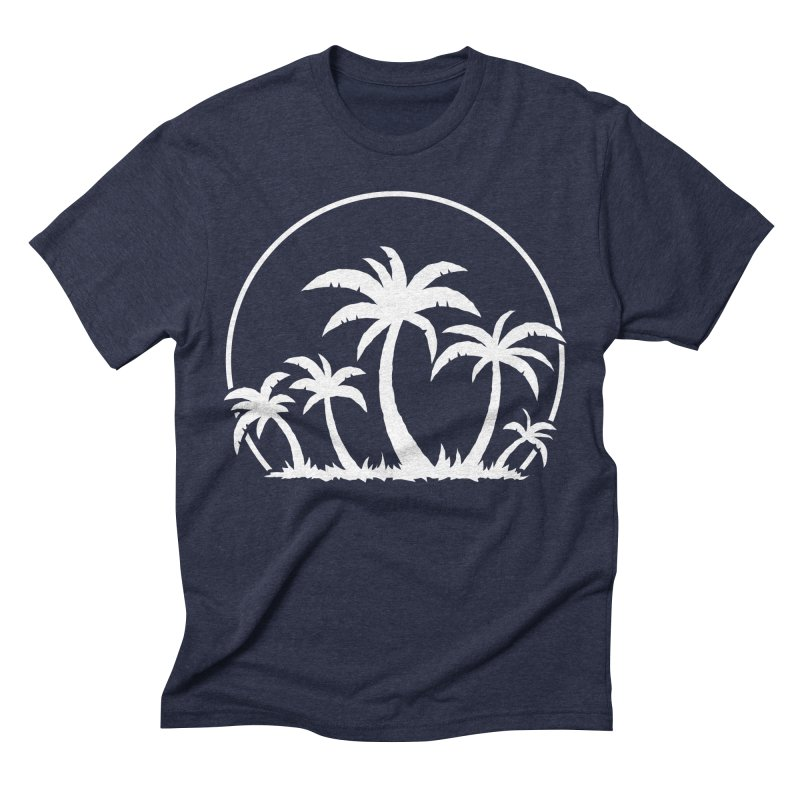 Palm Trees And Sunset in White Men's Triblend T-Shirt by Fizzgig's Artist Shop