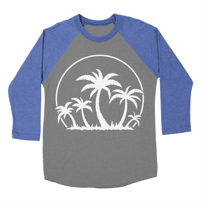 Palm Trees And Sunset in White Men's Baseball Triblend Longsleeve T-Shirt by Fizzgig's Artist Shop