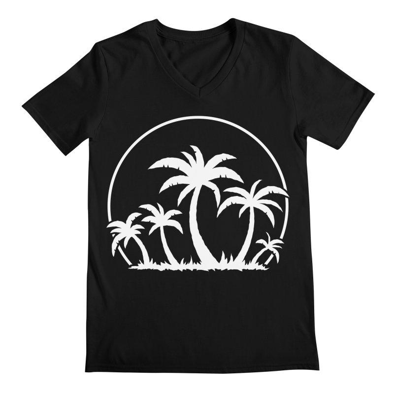 Palm Trees And Sunset in White Men's Regular V-Neck by Fizzgig's Artist Shop