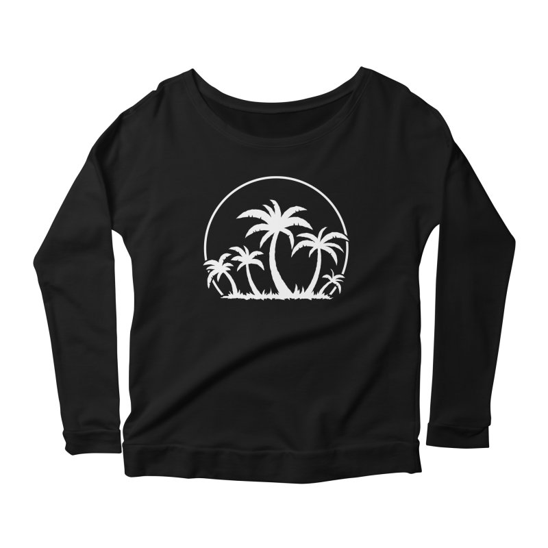 Palm Trees And Sunset in White Women's Scoop Neck Longsleeve T-Shirt by Fizzgig's Artist Shop