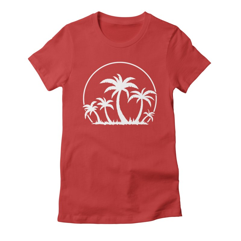 Palm Trees And Sunset in White Women's Fitted T-Shirt by Fizzgig's Artist Shop