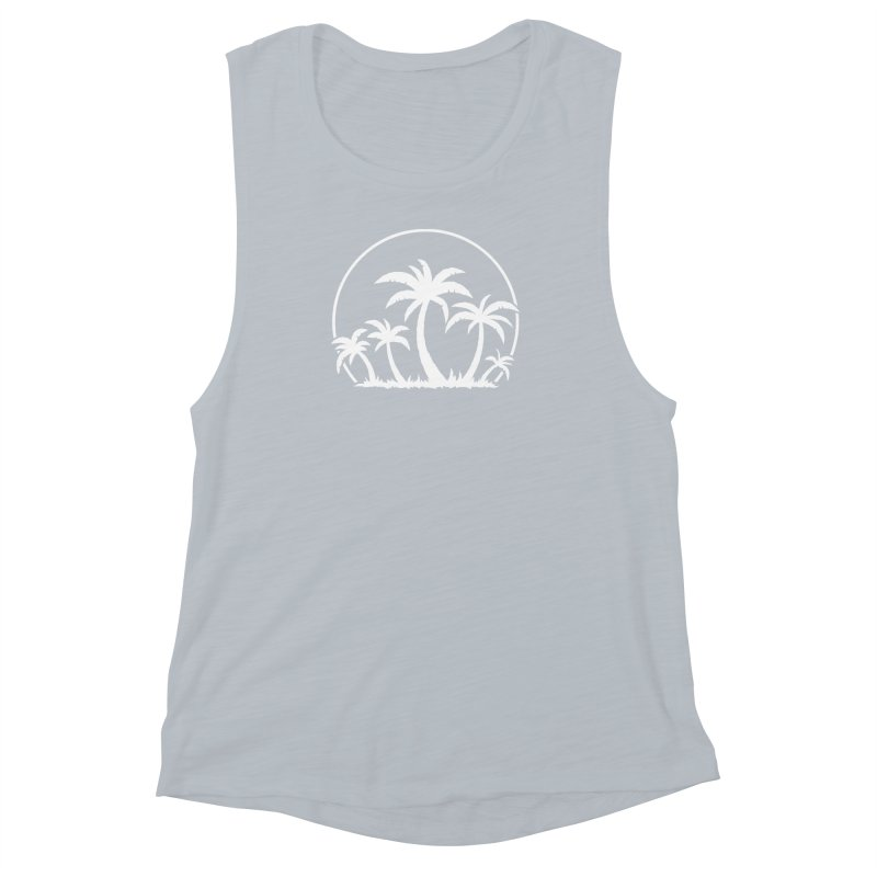 Palm Trees And Sunset in White Women's Muscle Tank by Fizzgig's Artist Shop