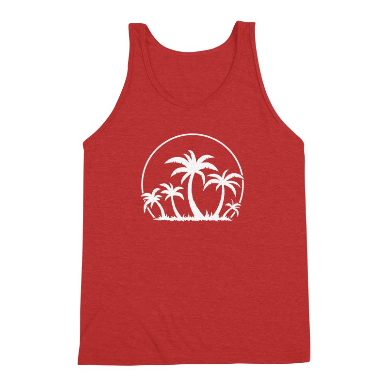 Palm Trees And Sunset in White Men's Triblend Tank by Fizzgig's Artist Shop