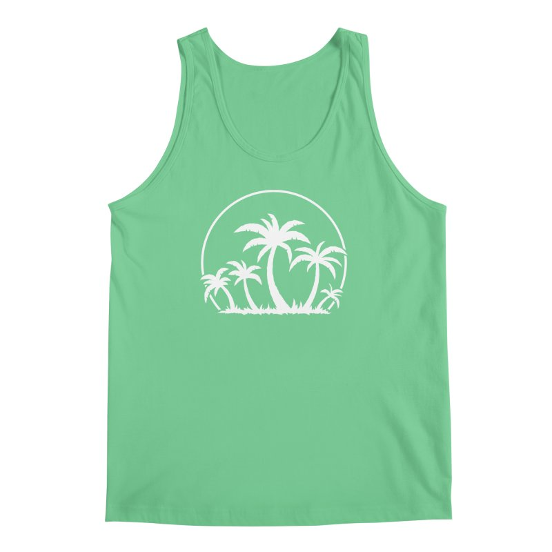 Palm Trees And Sunset in White Men's Regular Tank by Fizzgig's Artist Shop