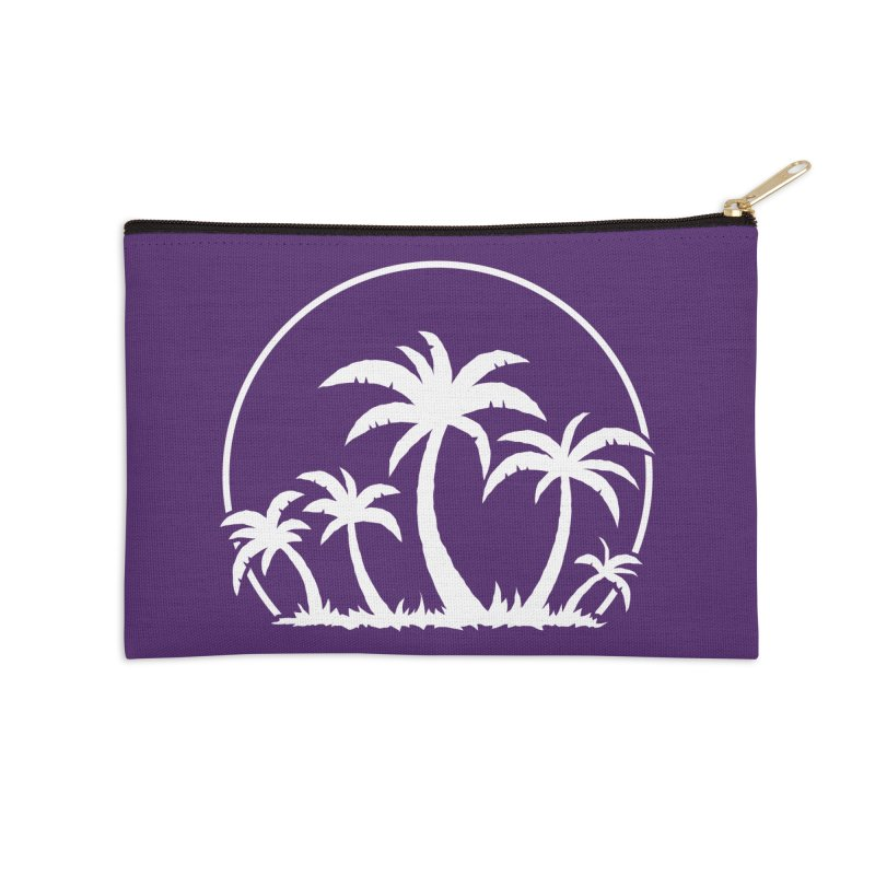 Palm Trees And Sunset in White Accessories Zip Pouch by Fizzgig's Artist Shop