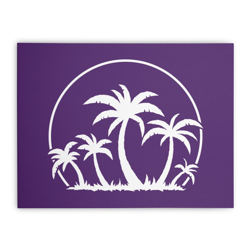 Palm Trees And Sunset in White Home Stretched Canvas by Fizzgig's Artist Shop