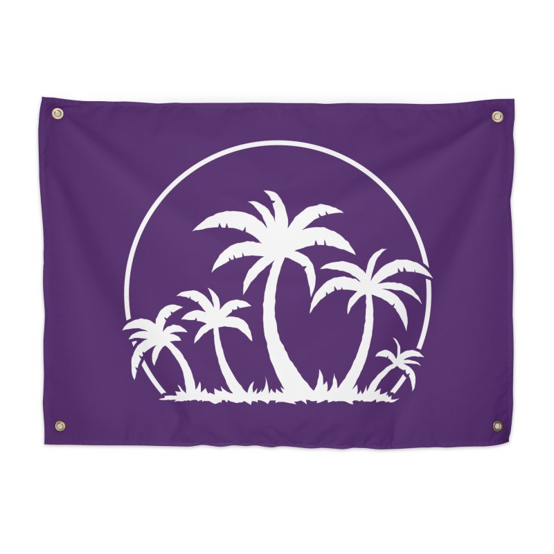 Palm Trees And Sunset in White Home Tapestry by Fizzgig's Artist Shop