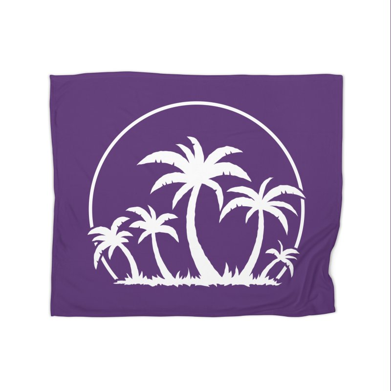 Palm Trees And Sunset in White Home Blanket by Fizzgig's Artist Shop