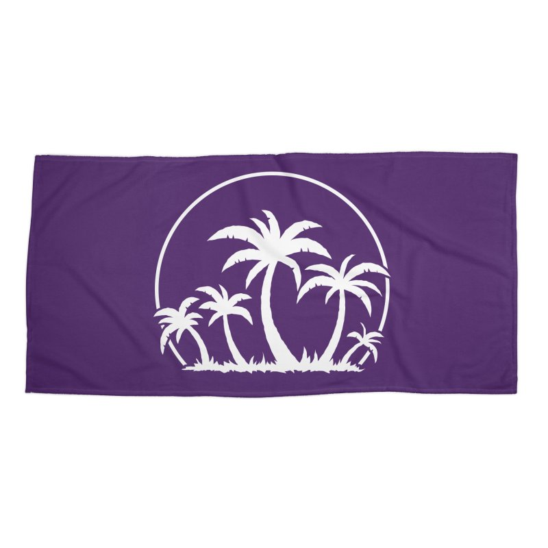 Palm Trees And Sunset in White Accessories Beach Towel by Fizzgig's Artist Shop