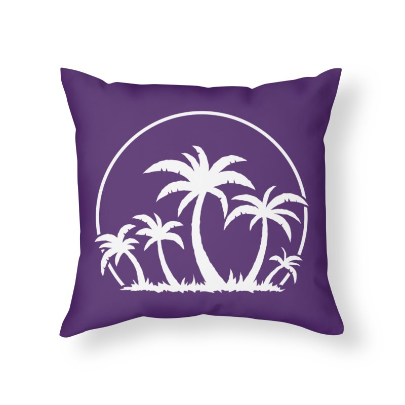 Palm Trees And Sunset in White Home Throw Pillow by Fizzgig's Artist Shop