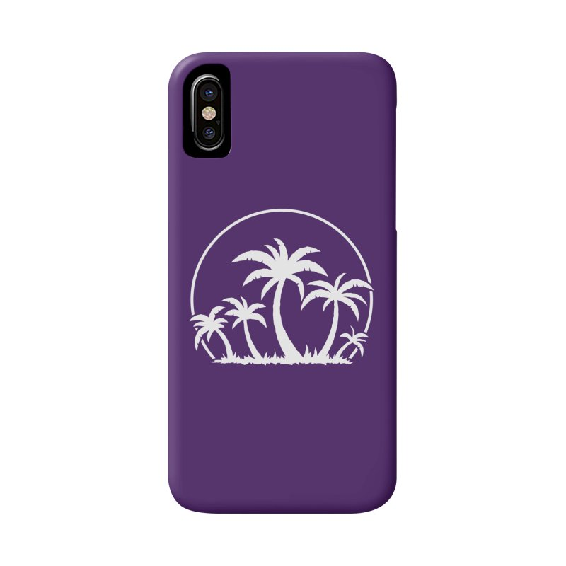 Palm Trees And Sunset in White Accessories Phone Case by Fizzgig's Artist Shop