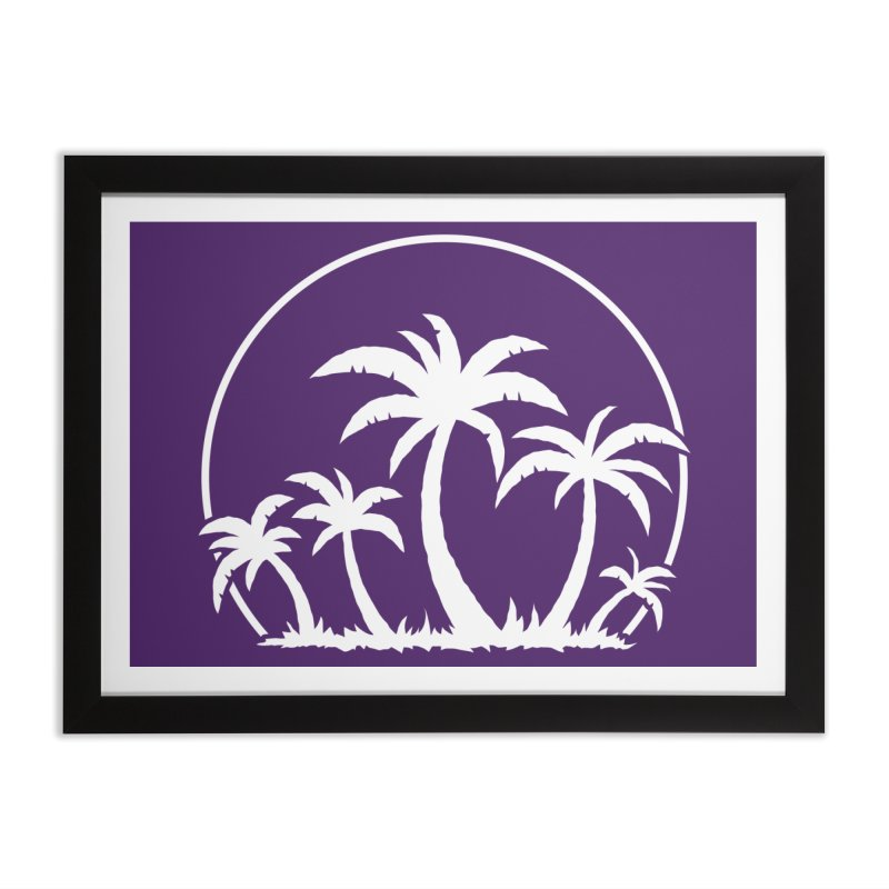 Palm Trees And Sunset in White Home Framed Fine Art Print by Fizzgig's Artist Shop