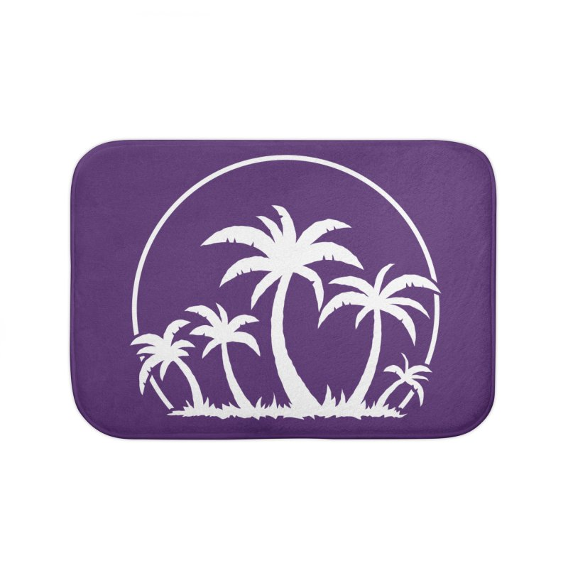 Palm Trees And Sunset in White Home Bath Mat by Fizzgig's Artist Shop