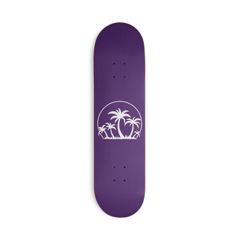 Palm Trees And Sunset in White Accessories Deck Only Skateboard by Fizzgig's Artist Shop