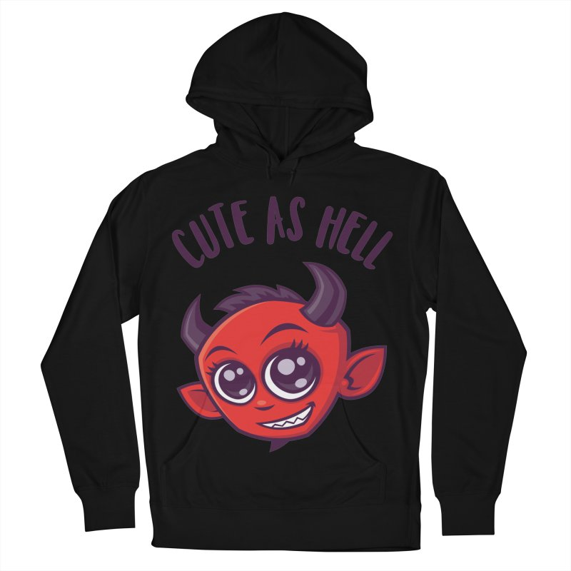 Cute as Hell Devil with Dark Text Men's French Terry Pullover Hoody by Fizzgig's Artist Shop