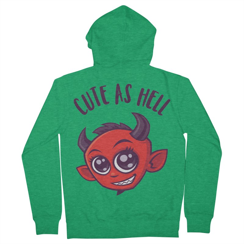 Cute as Hell Devil with Dark Text Women's French Terry Zip-Up Hoody by Fizzgig's Artist Shop