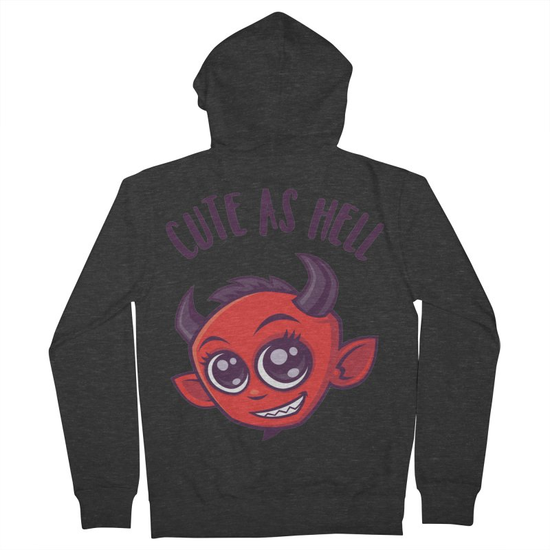 Cute as Hell Devil with Dark Text Men's French Terry Zip-Up Hoody by Fizzgig's Artist Shop