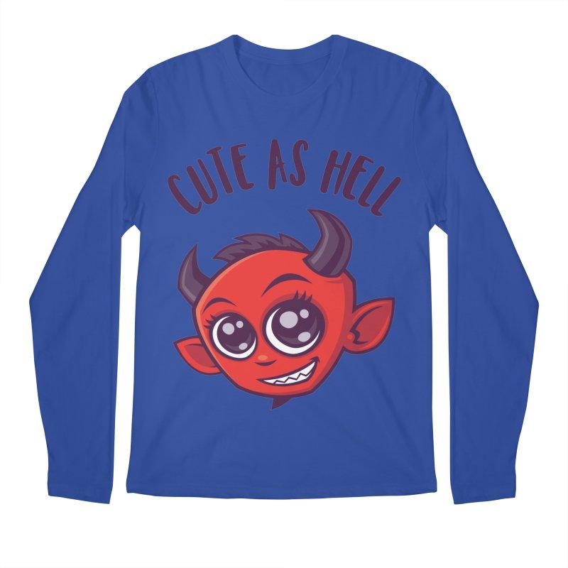 Cute as Hell Devil with Dark Text Men's Regular Longsleeve T-Shirt by Fizzgig's Artist Shop