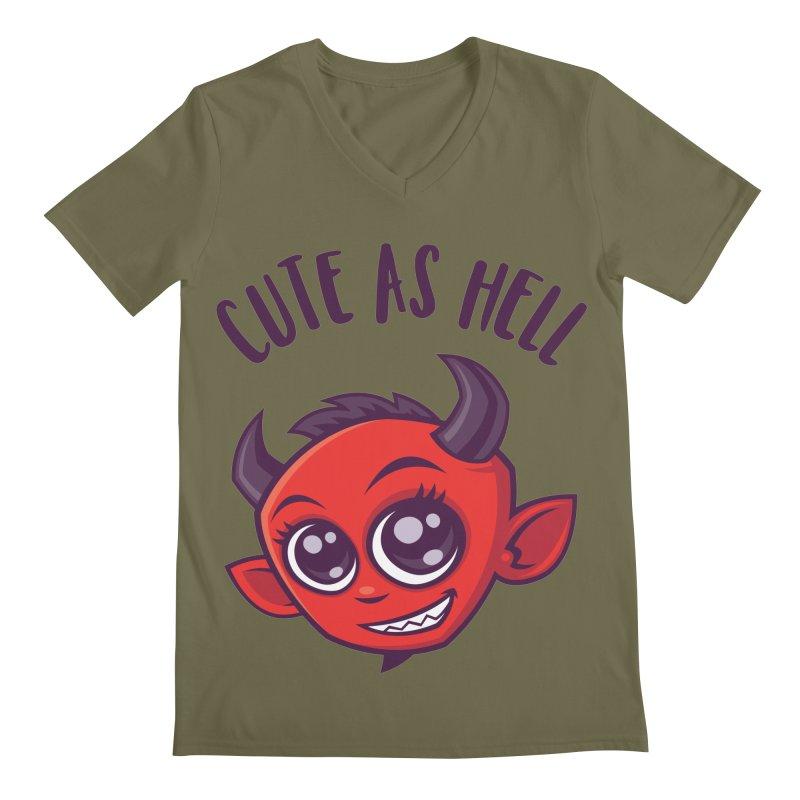 Cute as Hell Devil with Dark Text Men's Regular V-Neck by Fizzgig's Artist Shop