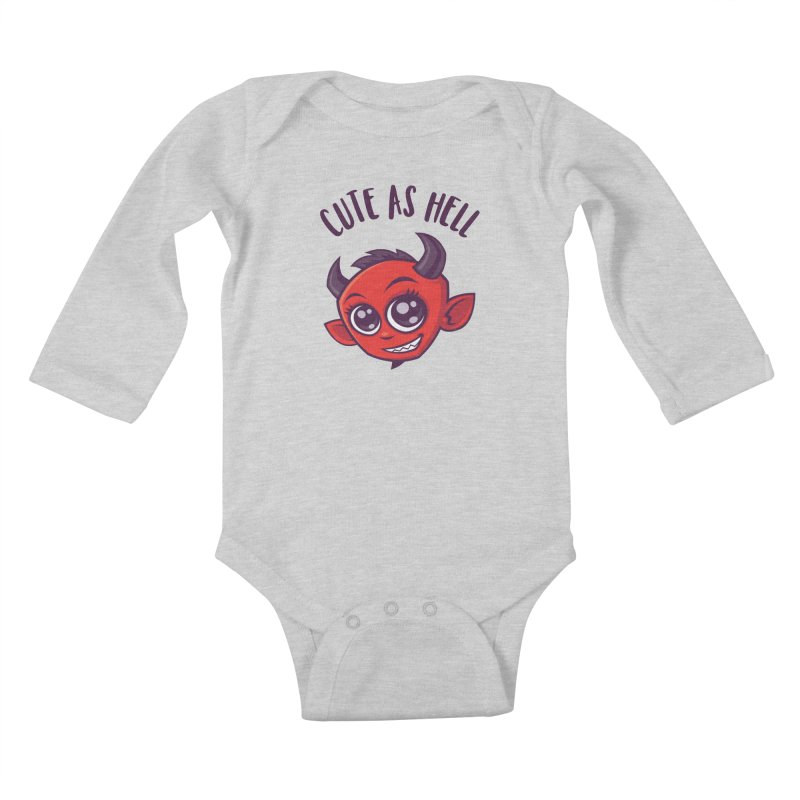 Cute as Hell Devil with Dark Text Kids Baby Longsleeve Bodysuit by Fizzgig's Artist Shop