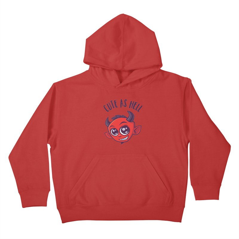 Cute as Hell Devil with Dark Text Kids Pullover Hoody by Fizzgig's Artist Shop