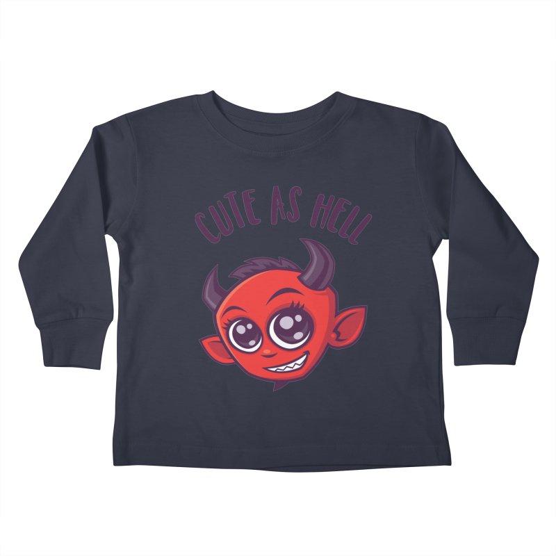 Cute as Hell Devil with Dark Text Kids Toddler Longsleeve T-Shirt by Fizzgig's Artist Shop