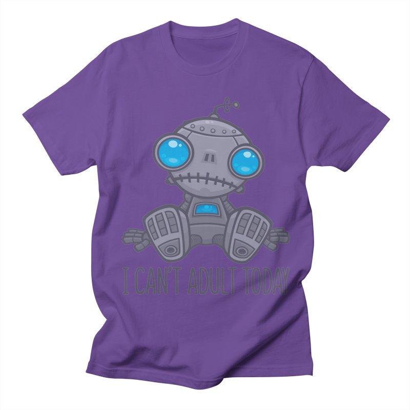 I Can't Adult Today Sad Robot Men's Regular T-Shirt by Fizzgig's Artist Shop