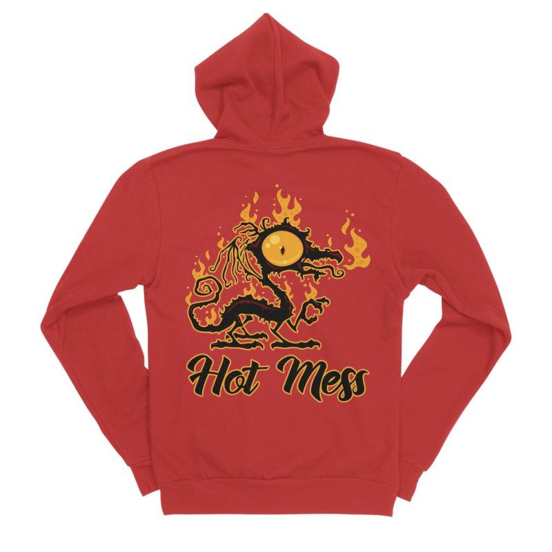 Hot Mess Crispy Dragon Men's Sponge Fleece Zip-Up Hoody by Fizzgig's Artist Shop