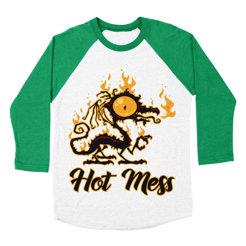 Hot Mess Crispy Dragon Women's Baseball Triblend Longsleeve T-Shirt by Fizzgig's Artist Shop