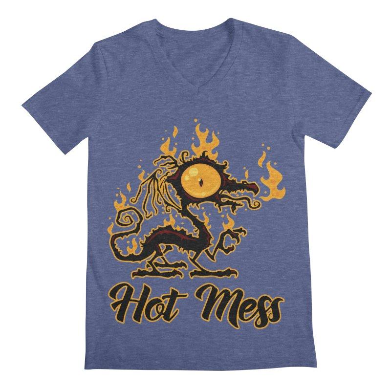 Hot Mess Crispy Dragon Men's Regular V-Neck by Fizzgig's Artist Shop
