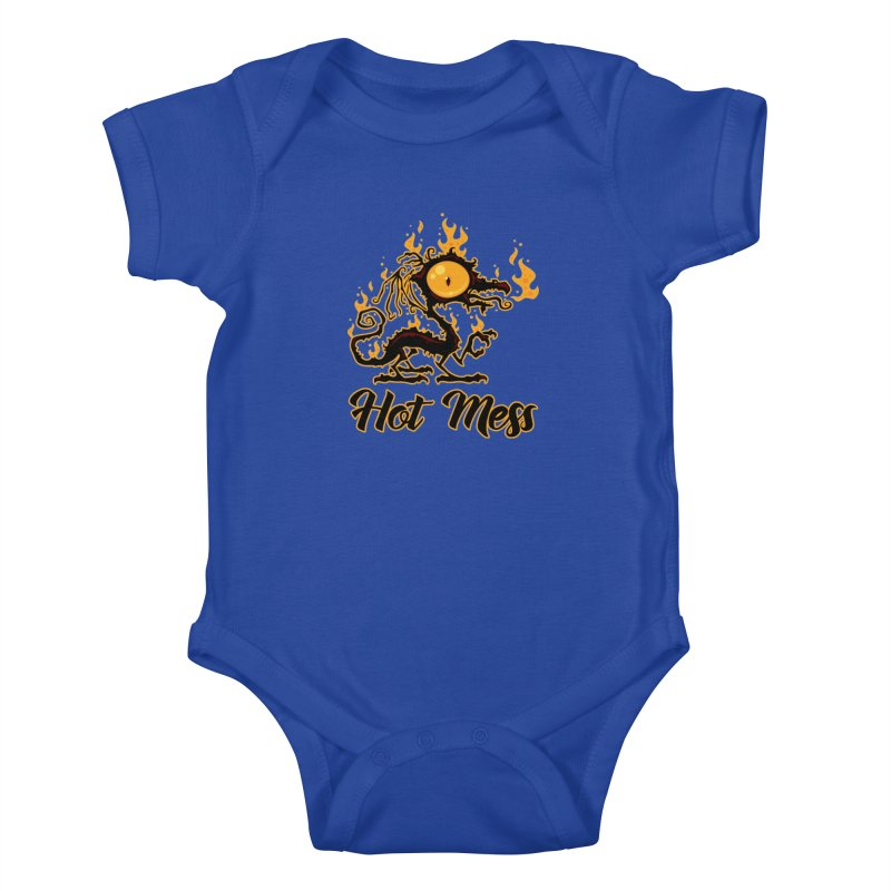 Hot Mess Crispy Dragon Kids Baby Bodysuit by Fizzgig's Artist Shop