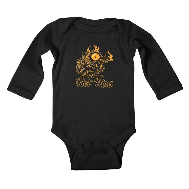 Hot Mess Crispy Dragon Kids Baby Longsleeve Bodysuit by Fizzgig's Artist Shop