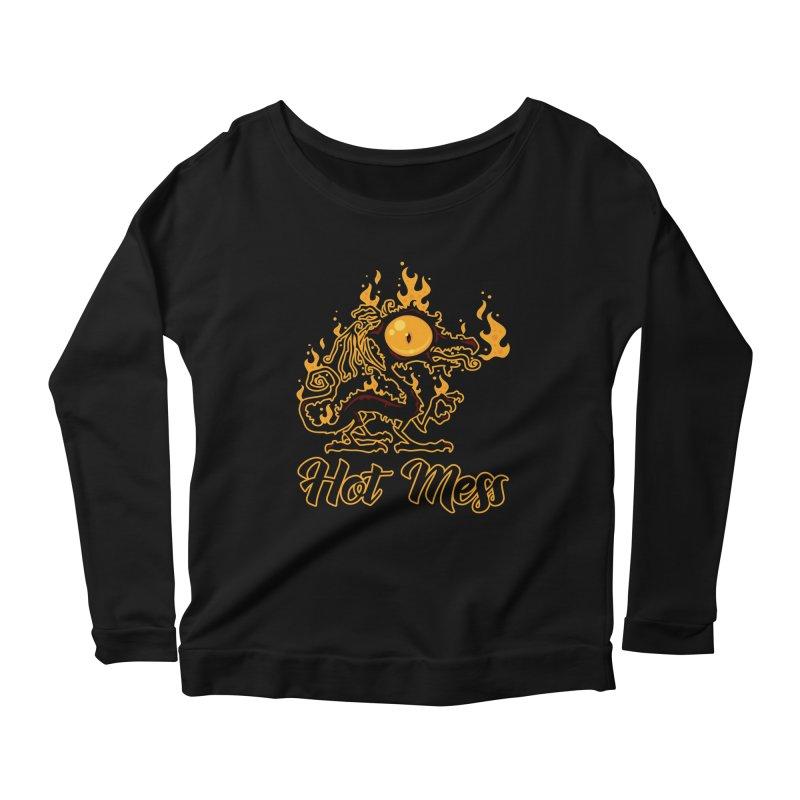 Hot Mess Crispy Dragon Women's Scoop Neck Longsleeve T-Shirt by Fizzgig's Artist Shop