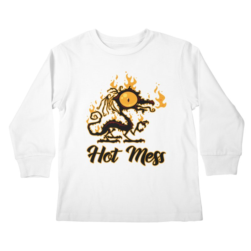 Hot Mess Crispy Dragon Kids Longsleeve T-Shirt by Fizzgig's Artist Shop