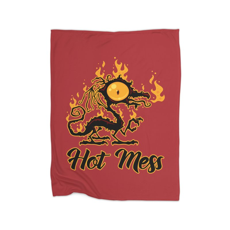 Hot Mess Crispy Dragon Home Fleece Blanket Blanket by Fizzgig's Artist Shop