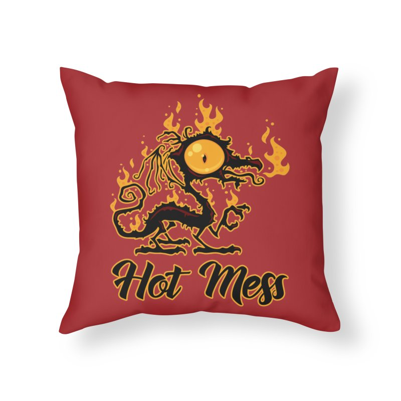 Hot Mess Crispy Dragon Home Throw Pillow by Fizzgig's Artist Shop